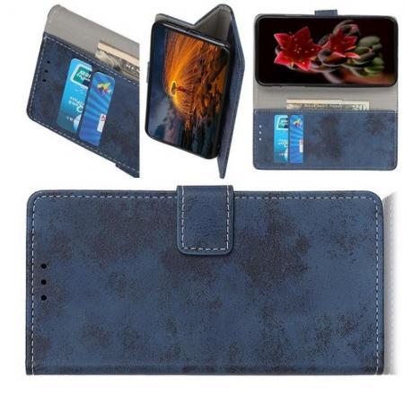Боковая Чехол Книжка Кошелек с Футляром для Карт и Застежкой Магнитом для HTC Desire 19 Plus Синий