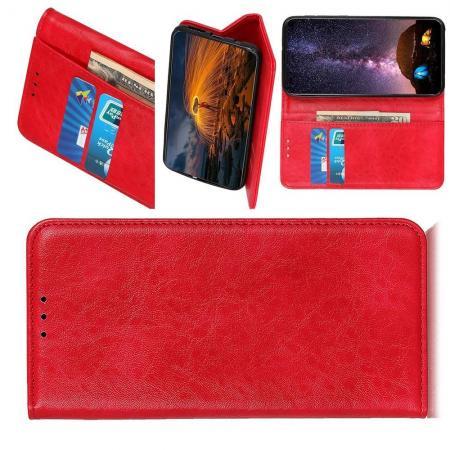 Боковая Чехол Книжка Кошелек с Футляром для Карт и Застежкой Магнитом для Huawei Honor 20 Красный