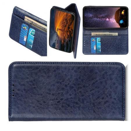 Боковая Чехол Книжка Кошелек с Футляром для Карт и Застежкой Магнитом для Huawei Honor 20 Синий
