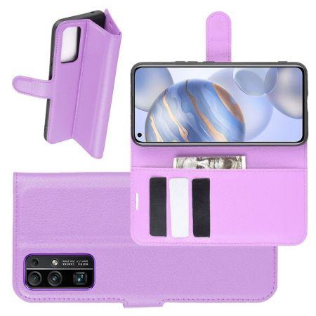Боковая Чехол Книжка Кошелек с Футляром для Карт и Застежкой Магнитом для Huawei Honor 30 Фиолетовый