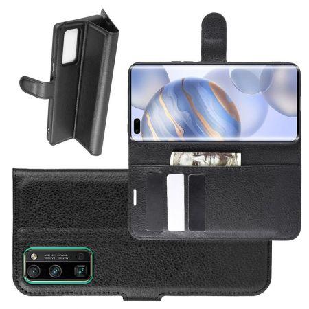 Боковая Чехол Книжка Кошелек с Футляром для Карт и Застежкой Магнитом для Huawei Honor 30 Pro Черный