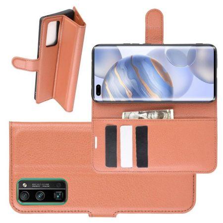Боковая Чехол Книжка Кошелек с Футляром для Карт и Застежкой Магнитом для Huawei Honor 30 Pro Коричневый