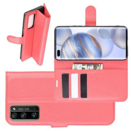 Боковая Чехол Книжка Кошелек с Футляром для Карт и Застежкой Магнитом для Huawei Honor 30 Pro Красный
