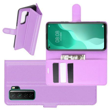Боковая Чехол Книжка Кошелек с Футляром для Карт и Застежкой Магнитом для Huawei Honor 30S Фиолетовый
