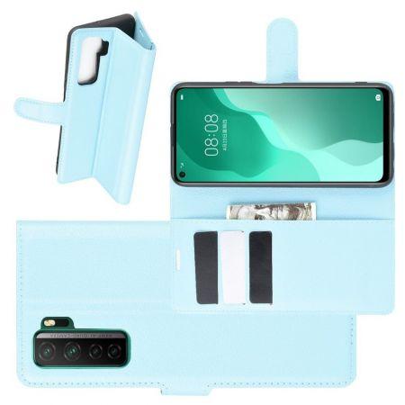 Боковая Чехол Книжка Кошелек с Футляром для Карт и Застежкой Магнитом для Huawei Honor 30S Голубой