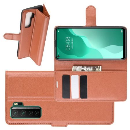 Боковая Чехол Книжка Кошелек с Футляром для Карт и Застежкой Магнитом для Huawei Honor 30S Коричневый
