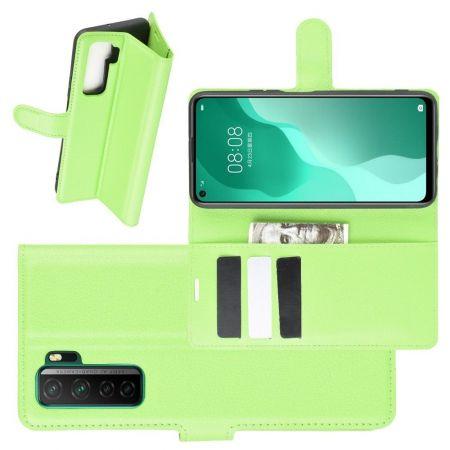 Боковая Чехол Книжка Кошелек с Футляром для Карт и Застежкой Магнитом для Huawei Honor 30S Зеленый