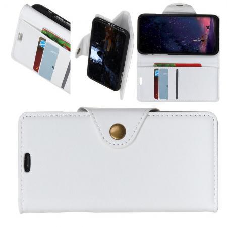 Боковая Чехол Книжка Кошелек с Футляром для Карт и Застежкой Магнитом для Huawei Honor 8X Белый