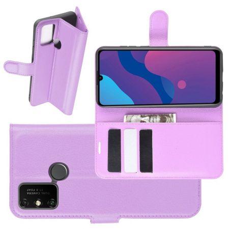 Боковая Чехол Книжка Кошелек с Футляром для Карт и Застежкой Магнитом для Huawei Honor 9A Фиолетовый