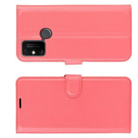 Боковая Чехол Книжка Кошелек с Футляром для Карт и Застежкой Магнитом для Huawei Honor 9A Красный