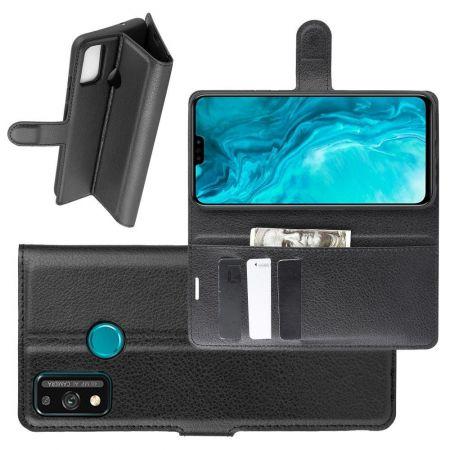 Боковая Чехол Книжка Кошелек с Футляром для Карт и Застежкой Магнитом для Huawei Honor 9X Lite Черный