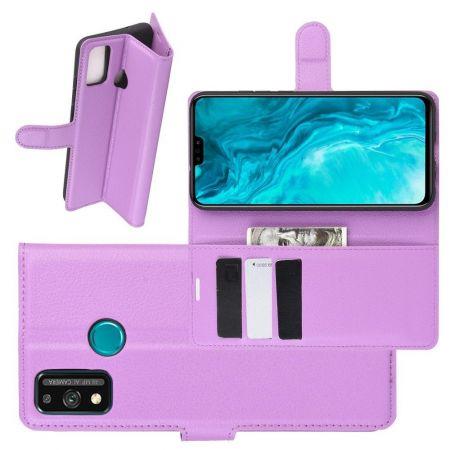 Боковая Чехол Книжка Кошелек с Футляром для Карт и Застежкой Магнитом для Huawei Honor 9X Lite Фиолетовый