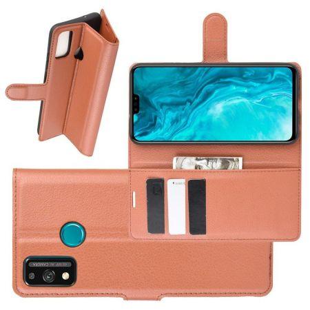 Боковая Чехол Книжка Кошелек с Футляром для Карт и Застежкой Магнитом для Huawei Honor 9X Lite Коричневый