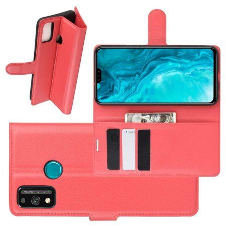 Боковая Чехол Книжка Кошелек с Футляром для Карт и Застежкой Магнитом для Huawei Honor 9X Lite Красный
