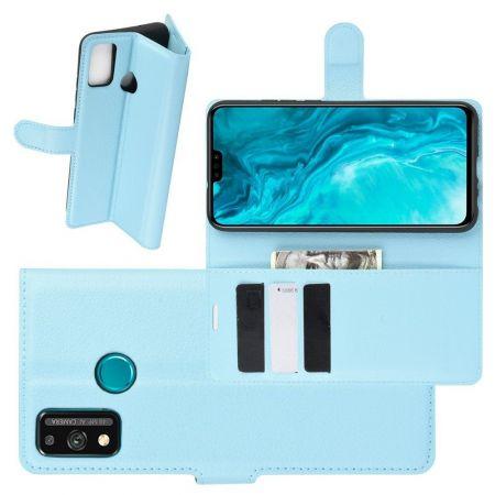 Боковая Чехол Книжка Кошелек с Футляром для Карт и Застежкой Магнитом для Huawei Honor 9X Lite Синий