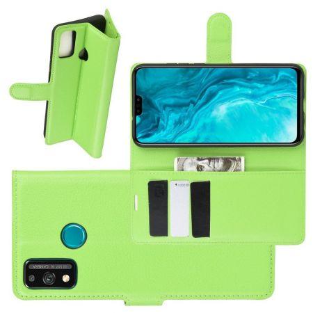 Боковая Чехол Книжка Кошелек с Футляром для Карт и Застежкой Магнитом для Huawei Honor 9X Lite Зеленый