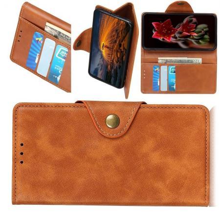 Боковая Чехол Книжка Кошелек с Футляром для Карт и Застежкой Магнитом для Huawei Mate 30 Lite Коричневый