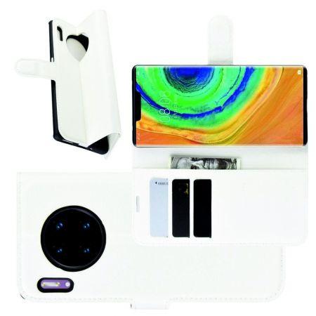 Боковая Чехол Книжка Кошелек с Футляром для Карт и Застежкой Магнитом для Huawei Mate 30 Pro Белый