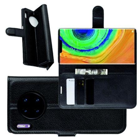 Боковая Чехол Книжка Кошелек с Футляром для Карт и Застежкой Магнитом для Huawei Mate 30 Pro Черный