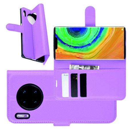Боковая Чехол Книжка Кошелек с Футляром для Карт и Застежкой Магнитом для Huawei Mate 30 Pro Фиолетовый