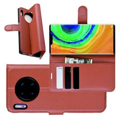 Боковая Чехол Книжка Кошелек с Футляром для Карт и Застежкой Магнитом для Huawei Mate 30 Pro Коричневый