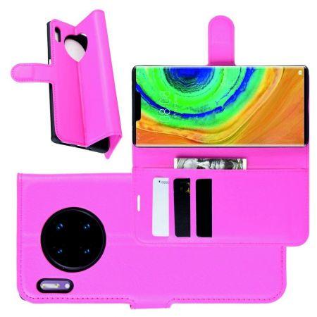 Боковая Чехол Книжка Кошелек с Футляром для Карт и Застежкой Магнитом для Huawei Mate 30 Pro Розовый