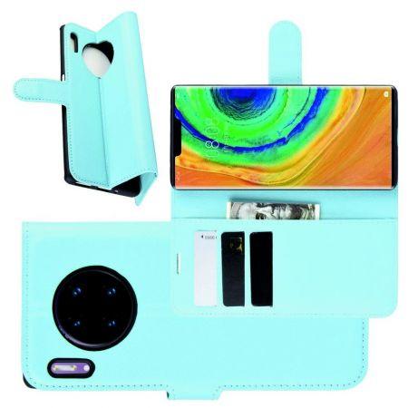Боковая Чехол Книжка Кошелек с Футляром для Карт и Застежкой Магнитом для Huawei Mate 30 Pro Синий