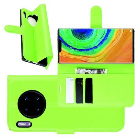 Боковая Чехол Книжка Кошелек с Футляром для Карт и Застежкой Магнитом для Huawei Mate 30 Pro Зеленый