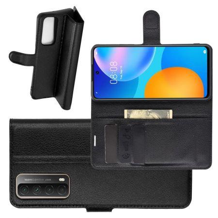 Боковая Чехол Книжка Кошелек с Футляром для Карт и Застежкой Магнитом для Huawei P Smart 2021 Черный