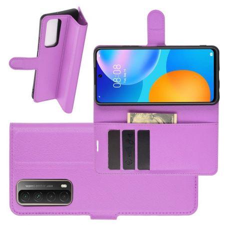 Боковая Чехол Книжка Кошелек с Футляром для Карт и Застежкой Магнитом для Huawei P Smart 2021 Фиолетовый