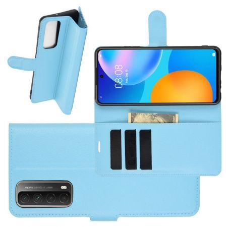 Боковая Чехол Книжка Кошелек с Футляром для Карт и Застежкой Магнитом для Huawei P Smart 2021 Синий