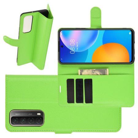 Боковая Чехол Книжка Кошелек с Футляром для Карт и Застежкой Магнитом для Huawei P Smart 2021 Зеленый
