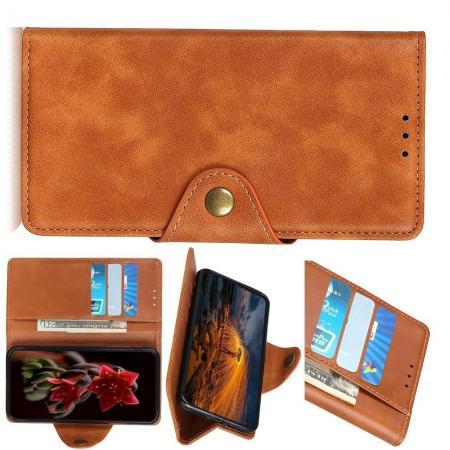 Боковая Чехол Книжка Кошелек с Футляром для Карт и Застежкой Магнитом для Huawei P Smart Z Коричневый