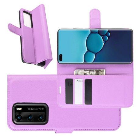 Боковая Чехол Книжка Кошелек с Футляром для Карт и Застежкой Магнитом для Huawei P40 Фиолетовый