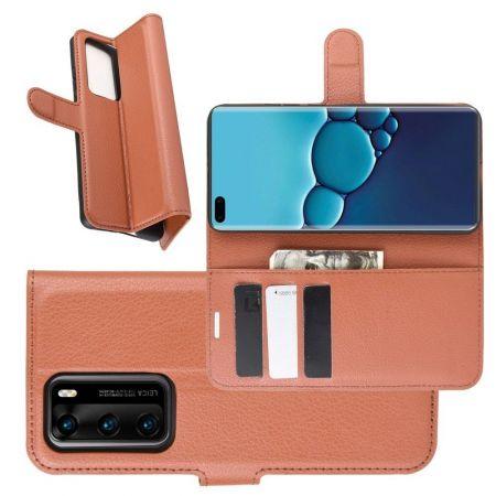 Боковая Чехол Книжка Кошелек с Футляром для Карт и Застежкой Магнитом для Huawei P40 Коричневый