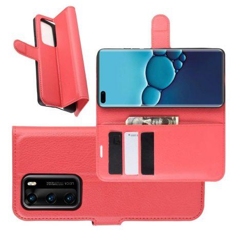 Боковая Чехол Книжка Кошелек с Футляром для Карт и Застежкой Магнитом для Huawei P40 Красный