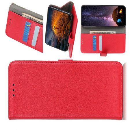 Боковая Чехол Книжка Кошелек с Футляром для Карт и Застежкой Магнитом для Huawei P40 lite E Красный