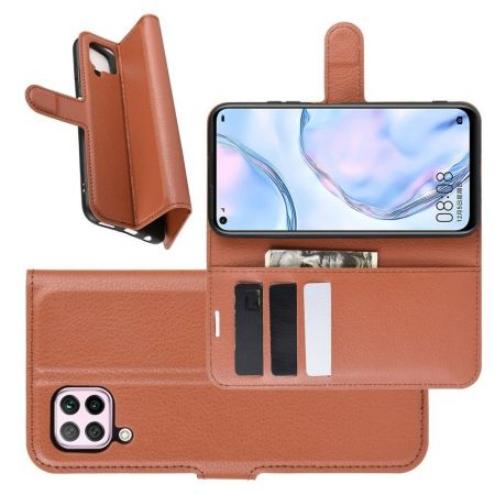 Боковая Чехол Книжка Кошелек с Футляром для Карт и Застежкой Магнитом для Huawei P40 Lite Коричневый