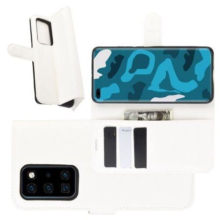 Боковая Чехол Книжка Кошелек с Футляром для Карт и Застежкой Магнитом для Huawei P40 Pro Белый