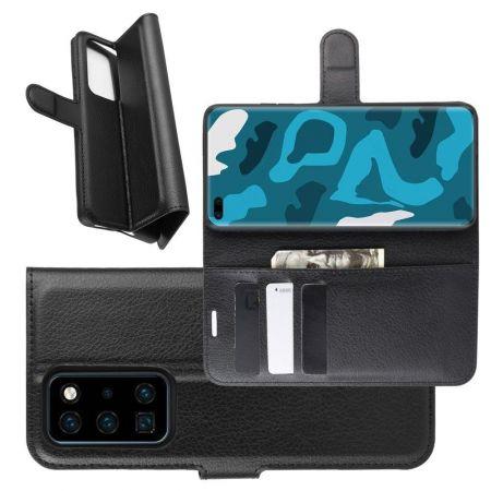Боковая Чехол Книжка Кошелек с Футляром для Карт и Застежкой Магнитом для Huawei P40 Pro Черный