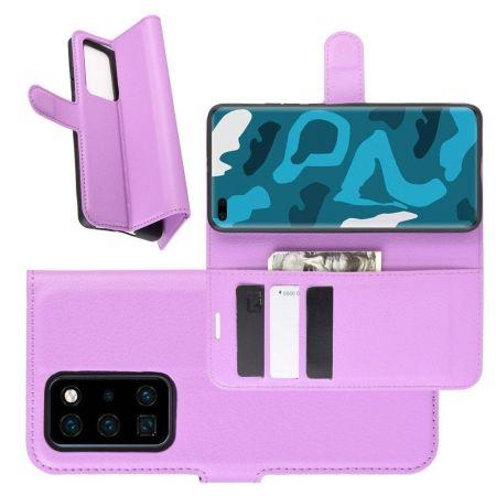 Боковая Чехол Книжка Кошелек с Футляром для Карт и Застежкой Магнитом для Huawei P40 Pro Фиолетовый