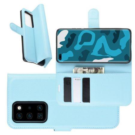 Боковая Чехол Книжка Кошелек с Футляром для Карт и Застежкой Магнитом для Huawei P40 Pro Голубой