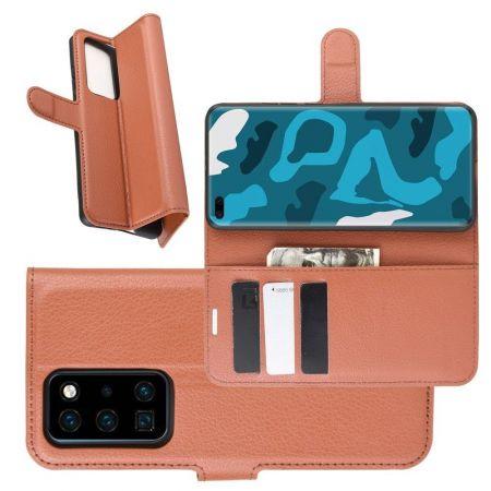 Боковая Чехол Книжка Кошелек с Футляром для Карт и Застежкой Магнитом для Huawei P40 Pro Коричневый
