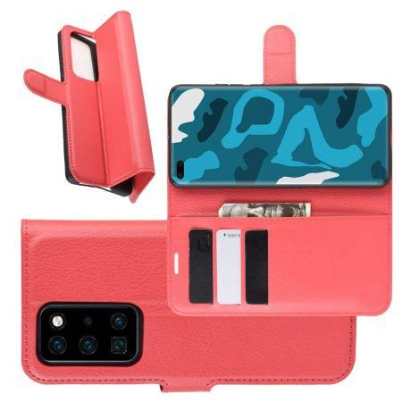 Боковая Чехол Книжка Кошелек с Футляром для Карт и Застежкой Магнитом для Huawei P40 Pro Красный