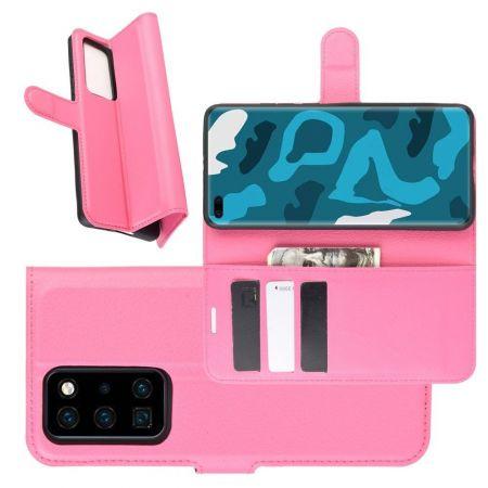 Боковая Чехол Книжка Кошелек с Футляром для Карт и Застежкой Магнитом для Huawei P40 Pro Розовый