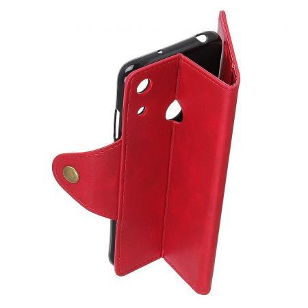 Боковая Чехол Книжка Кошелек с Футляром для Карт и Застежкой Магнитом для Huawei Y6 2019 Красный