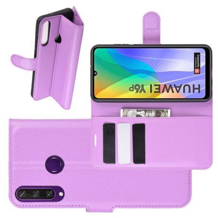 Боковая Чехол Книжка Кошелек с Футляром для Карт и Застежкой Магнитом для Huawei Y6p Фиолетовый