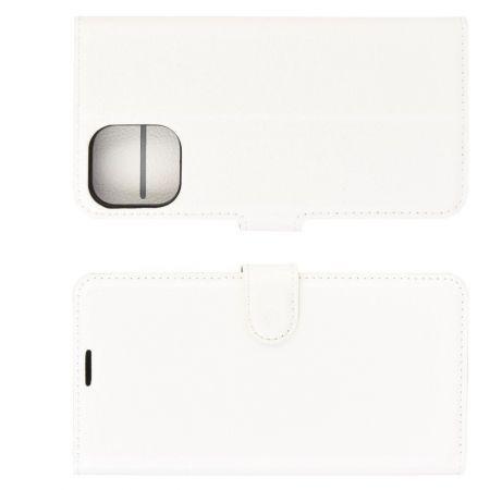 Боковая Чехол Книжка Кошелек с Футляром для Карт и Застежкой Магнитом для iPhone 12 mini Белый