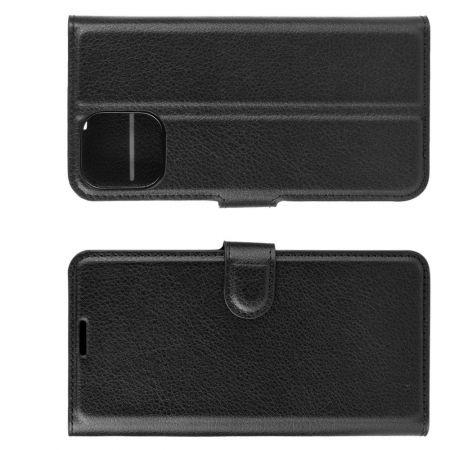 Боковая Чехол Книжка Кошелек с Футляром для Карт и Застежкой Магнитом для iPhone 12 mini Черный