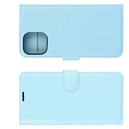Боковая Чехол Книжка Кошелек с Футляром для Карт и Застежкой Магнитом для iPhone 12 mini Синий